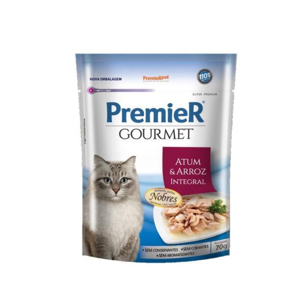 Alimento Úmido Premier Gourmet Gatos Adultos Atum e Arroz 70g
