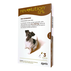Revolution 12% Cães 5,1 a 10kg 60mg 3 Pipetas