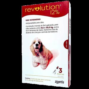 Antipulgas e Carrapatos Revolution 12% Cães 10,1 a 20kg 120mg 3 Pipetas